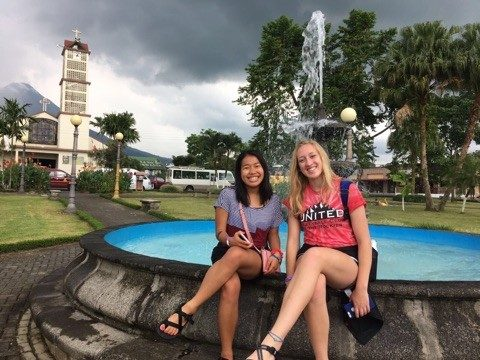 (on the right) at the plaza of Arenal,Costa Rica