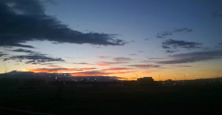The sun rises over Fruita as students make their way to school