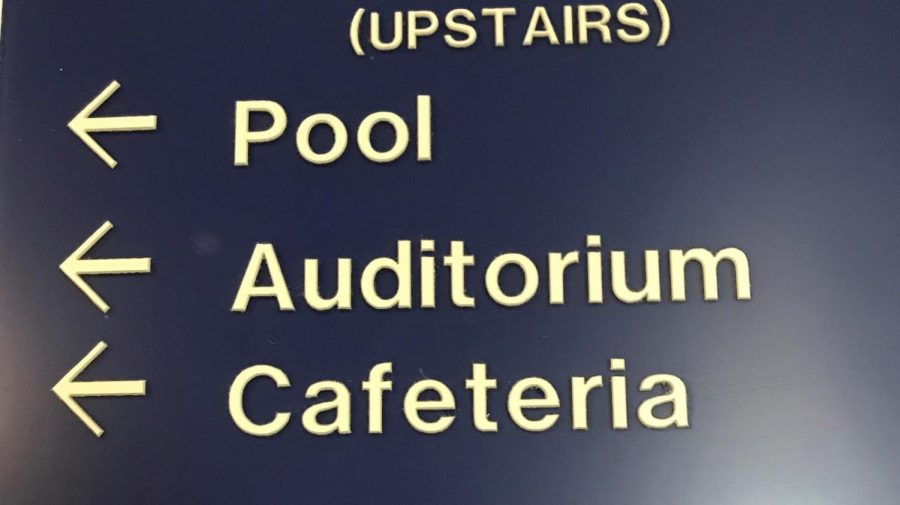 A sign showing directions to the now closed pool